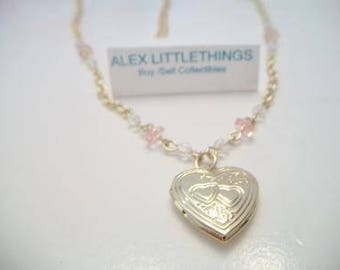 Pink Heart Locket Tin Cup Station Necklace Romantic Feminine Costume Jewelry Gold Tone