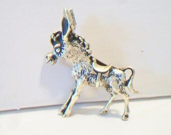 Vintage Donkey Brooch Pin Gold Tone Oxidized Burro Costume Jewelry Mule