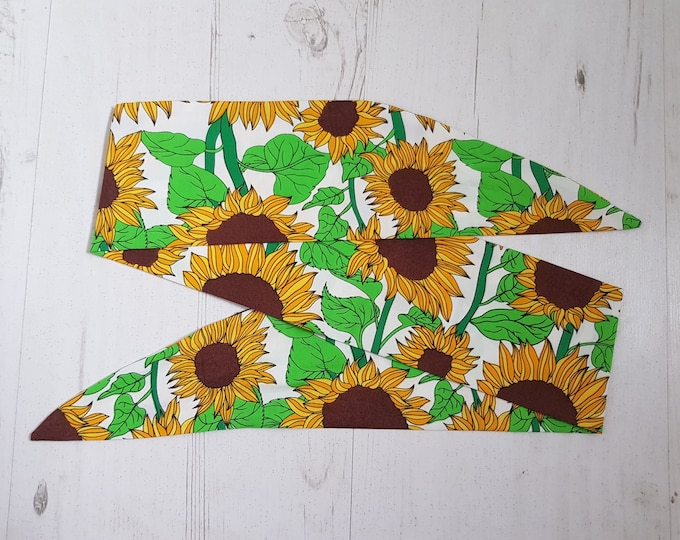Sunflower Head Scarf - Pin Up Hairband Hair Wrap Retro Flower Autumn Gardener - With or Without Wire