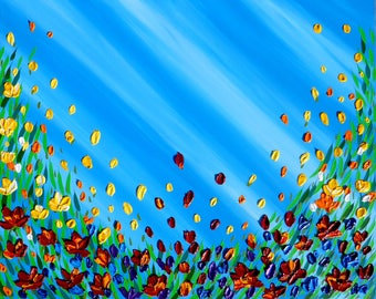 painting of poppies, textured poppies painting, bright art, bright painting, painting of flowers, palette knife art, paintings with flowers
