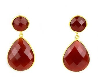 45% OFF Beautiful Handmade Carnelian Earring , Smooth Bezel Round and Pears shape Connector Earring, 24k gold plated (CNER-90014)