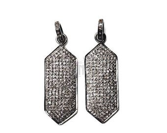 5% OFF Hexagon Charm Pendant, Hexagon Diamond Pendant, Sterling Silver Necklace Pendant, Pave Charm Pendant (NDCH-40061)