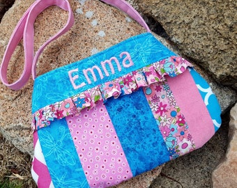 You must order before Thanksgiving for Christmas Delivery, Personalized Little Girls Purse, Patchwork Toddler Purse, Flower Girl Purse