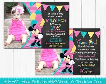 SALE - Minnie 1st Birthday Invitation OR Thank you card Digital Printable Photo Card File Personalized Custom