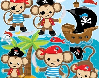 80% OFF SALE Pirate Monkey clipart commercial use, monkey vector graphics, pirate digital clip art, monkey digital images - CL986