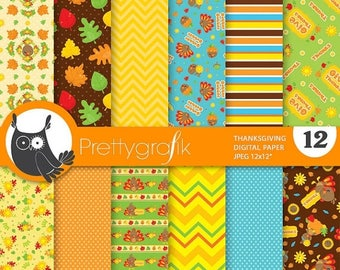 80% OFF SALE Thanksgiving digital paper, commercial use, Thanksgiving turkey scrapbook papers, Thanksgiving background chevron - PS829