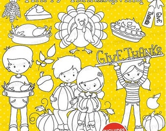 80% OFF SALE Thanksgiving stamps commercial use, vector graphics, digital stamp, digital images - DS720