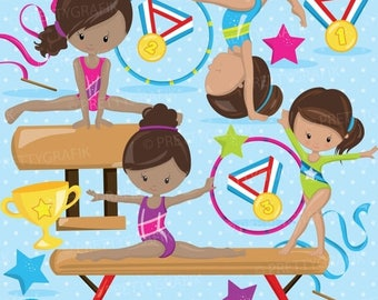 80% OFF SALE Gymnastic Girls clipart commercial use, gymnastic  clipart vector graphics, digital clip art, gym digital images - CL914
