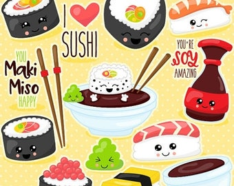 80% OFF SALE Kawaii sushi clipart commercial use,  vector graphics,  digital clip art,  digital images - CL1080
