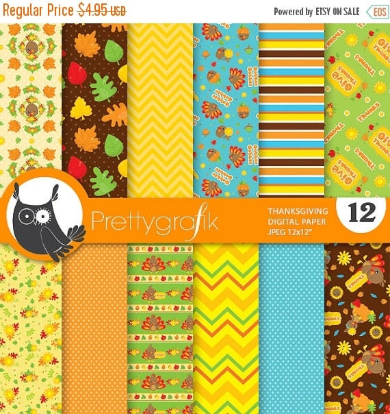 80 Off Sale Thanksgiving Digital Paper Commercial Use