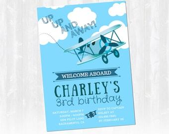 Airplane Birthday Invitation, Airplane Birthday, Airplane Invitation - Full Customization - Digital Download - Printable Invitation