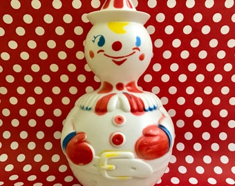 Roly Poly Clown Chime Baby Toy Clown Collectible Kitschy Kitsch Vintage Nursery Decor Mid Century Chiming Clown