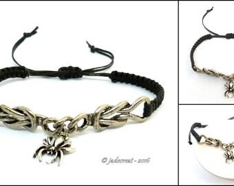 Bracelet  Homme plaqué argent - araignée - Réf. Br 025 - noir