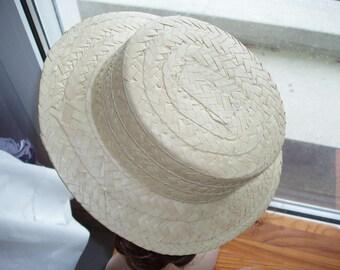 2 raw blank straw Boater hats.