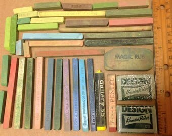 lot of used art supplies Berol Prismacolor Art Stix Design Kneaded Rubber 1224 Faber Castellated eraser in Winsor and Newton box 1980s
