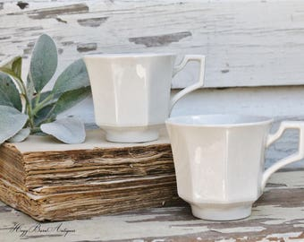 Vintage White Ironstone Coffee Tea Cups Mugs ENGLAND  Farmhouse Decor Fixer Upper