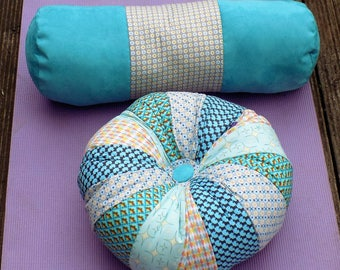 Blue yoga set,  zafu meditation/yoga cushion with bolster pillow, handcrafted and unique, made in the UK  - free UK postage