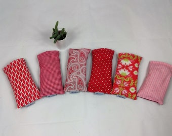 Lavender eye pillow - reds, ideal for yoga and meditation, great gift, made in the UK - free UK postage