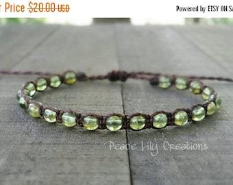 25% Off Peridot macrame bracelet august birthstone healing gemstones yoga bracelet earthy bracelet stacking bracelet