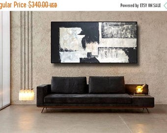 "SALE 72"" Original Abstract Acrylic Painting Extra Large Gray Black Mocca Light Brown Wall Art Modern Art Decor UNSTRETCHED Auxxl024"