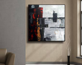 "Black Grey White Red Mustard Original Abstract Painting on Canvas 32"" Square Wall Art Home Decor Wall Hanging UNSTRETCHED AU46"