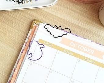 SALE - Halloween Planner Clips - Halloween Paperclips, Halloween Stationery, Ghost Planner Clip, Bat Planner Clip, Planner Accessories
