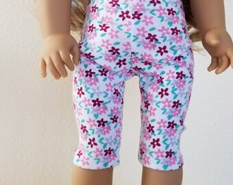 Capri Leggings for American Girl Dolls by The Glam Doll- white and Maroon floral