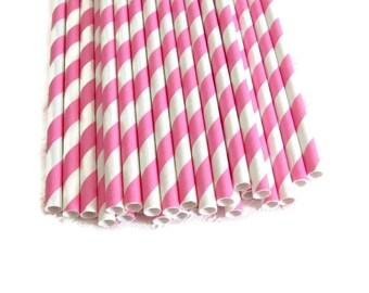 Bubblegum Pink Stripe Paper Straws 25 Count | Bright Pink Stripe Paper Straws | Pink Striped Straws | Pink Stripe Party Straws