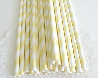 Light Yelow Stripe Paper Straws 25 Count | Yellow Paper Straws | Yellow Striped Straws | Yellow Stripe Party Straws | Pastel Yellow Straws