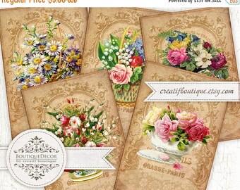 ON SALE Set of 8 cards 5х7,5 cm. Vintage Clock cards. Digital collage sheet for scrapbooking or packaging.