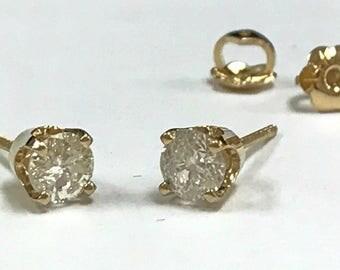 Vintage 14K Yellow Gold Screw Back Stud Diamond Earning !!!  Free US Shipping!!!