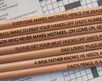 Custom Pencils for Dad,  7 Father's Day Pencils, Engraved Pencils, Dad's Number Two Pencils, Puzzle Pencils