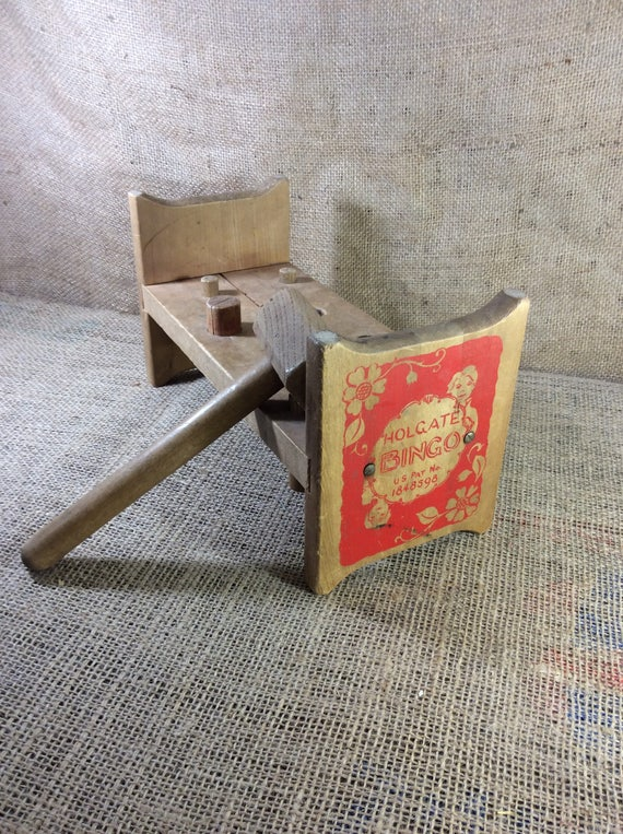 Vintage Holgate Bingo Bed, vintage 1950's wooden toys, Holgate toys from the 50's, toddlers banging toys with hammer, vintage toy decor