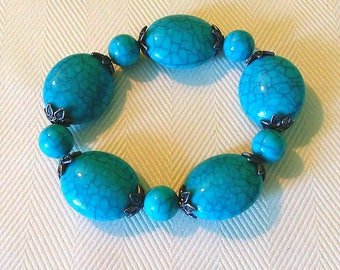 Teal Turquoise Southwestern stretch bracelet 7 inches womens