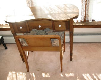 Local Pick Up Walton N.Y. ART DECO BENCH And Antique Kidney Shaped Vanity  Table Local Pick