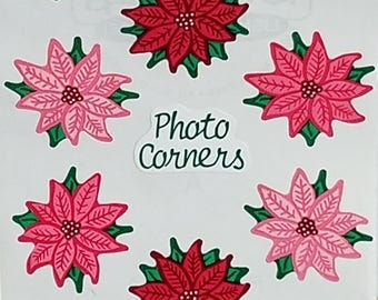 Frances Meyer Poinsettia Sticker Corners 10 Images Per Sheet Scrapbooking