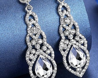 Water-Drop Crystal Drop Long Earrings Silver Elegant Bridal Wedding Gauges Plugs 6g 4g 2g 4mm 5mm 6mm