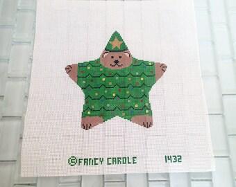 Christmas Bear Needlepoint Canvas FANCY CAROLE 16 count mesh