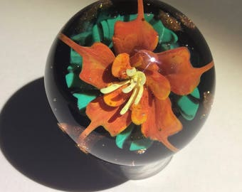 Orange Glass Flower Marble