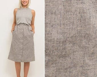 Sale Grey skirt vintage 80s BUTTON UP skirt high waist MINIMAL pockets midi grey minimalist secretary skirt