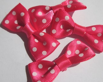 4 bow satin fabric 34 mm approx (A18) dot pattern