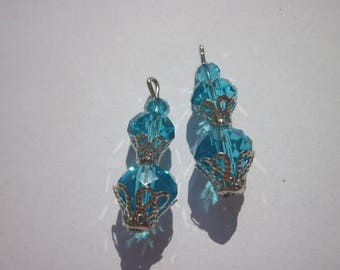2 charms glass and metal 2.7 cm (D36)