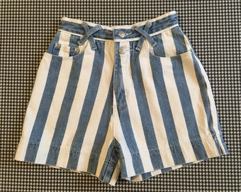 1990's, high waist, denim shorts, in wide, blue and white stripes, Women's size 3/4