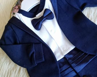 Baby tuxedo, Baby boy wedding outfit, wedding suit, wedding tuxedo, newborn tuxedo, snapsuit, bodysuit, wedding, navy, cotton