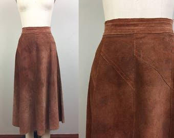 Vintage 70s Brown Suede LEATHER Skirt Boho Hippie S/M