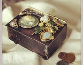 Welded Steel Box With Vintage Jewelry