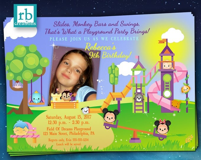 Playground Tsum Tsum Party Invitation, Tsum Tsum Invitations, Playground Birthday Party Invitations, Disney Playground - Digital Printable