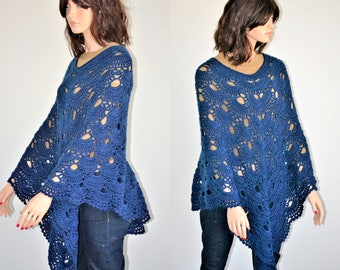 Crochet PONCHO/ Navy Blue poncho/ Navy Blue Virus Poncho/ Crochet Virus poncho/ Crochet Navy Blue Virus Shawl/ Virus Poncho