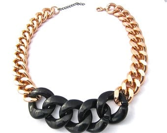 Oversize Rose Gold and Black Chunky Curb Chain Statement Necklace