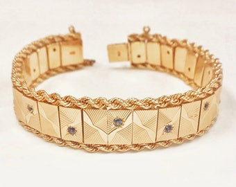 Vintage 1950s Bracelet with Sapphires in faceted starbursts - 14k